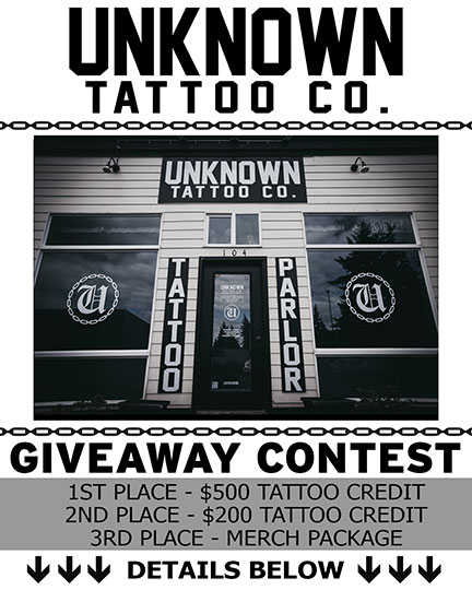 Free tattoo Instagram contest at Unknown Tattoo Co. in Everett Washington