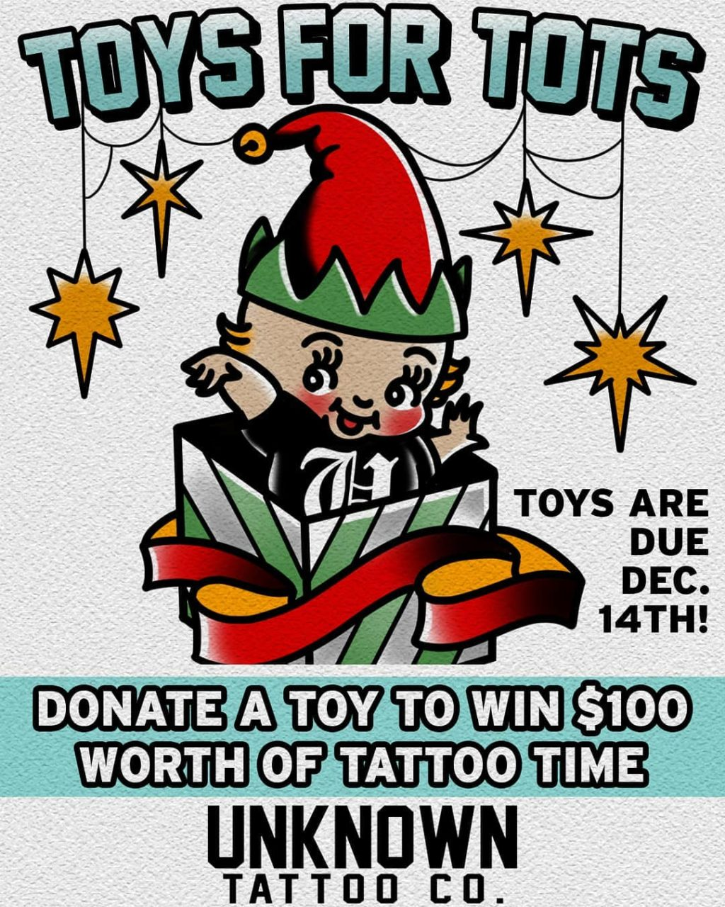 Toys for Tots event at Unknown Tattoo Co in Everett Washington